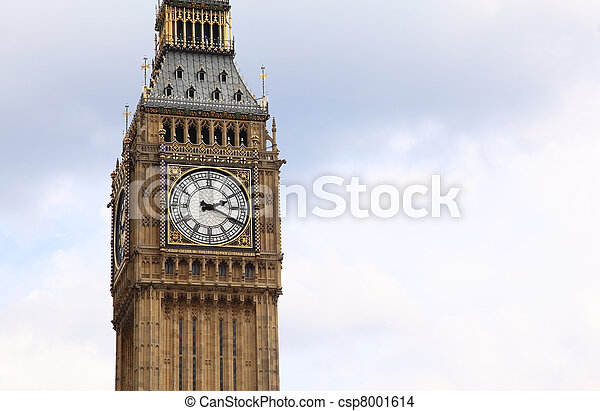 Big Ben is a famous English clock chimes in the Gothic style in London. Big Ben is one of London's best-known landmarks  - csp8001614