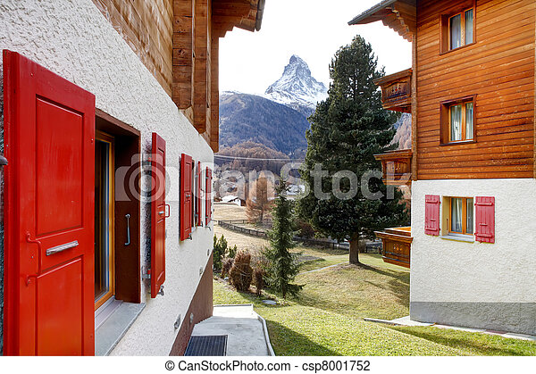 Zermatt, Swiss ski resort village. - csp8001752