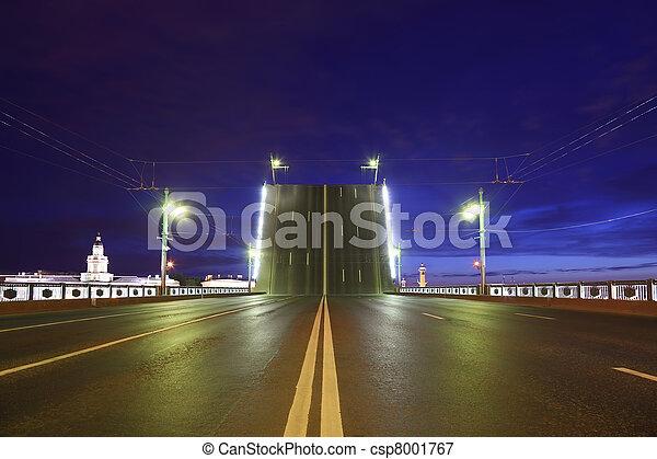 Night view of raised bridge in St.Petersburg, Russia. - csp8001767