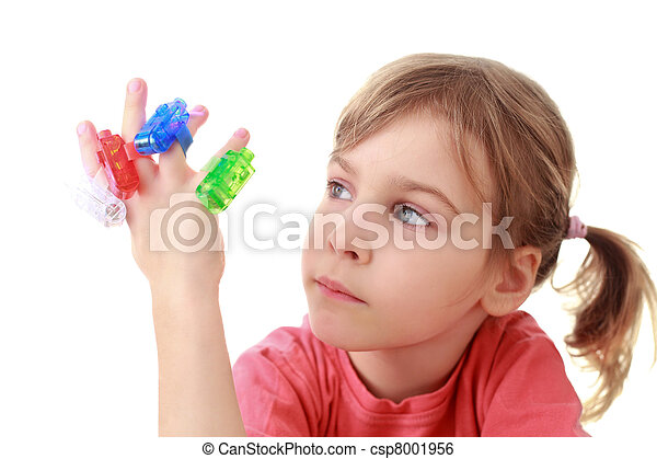 Girl looks at flashlights which are on fingers - csp8001956