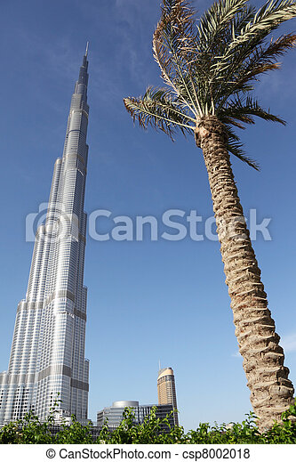 DUBAI - APRIL 17: Burj Dubai skyscraper, palm and plants in front, sunny day, 17 april 2010 in Dubai, UAE - csp8002018