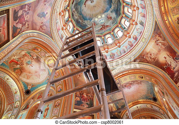 Staircase rising to ceiling of dome inside Cathedral of Christ the Saviour in Moscow, Russia - csp8002061