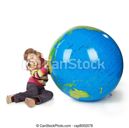 small girl with enormous globe select place, where she will live when she will grow - csp8002078