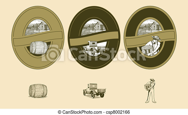 Woodcut Farming Labels - csp8002166