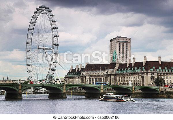 pleasure boat floating in the Thames under the bridge. London Eye - csp8002186
