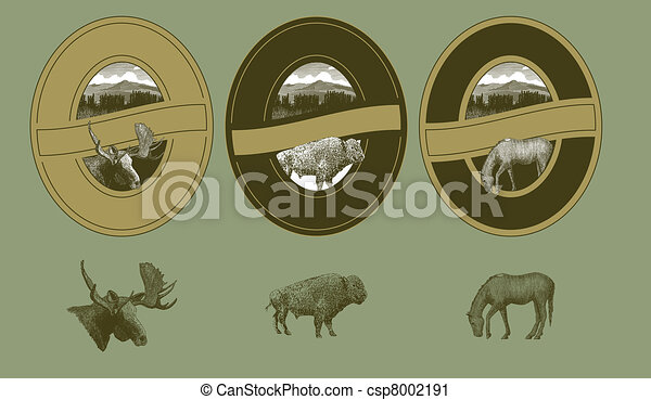 Woodcut Animal Labels - csp8002191