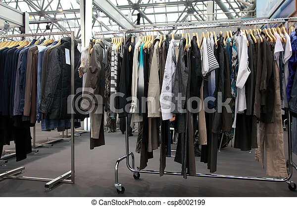 Design clothes hang at  demonstration stand in showroom - csp8002199