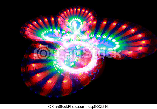 Surface with light painting streaks of different color in form butterfly - csp8002216