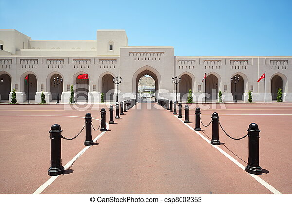 SULTAN'S PALACE IN OMAN - April, 14: Turkish and Oman flags on main avenue of Sultan's Palace in time when Turkish leader was visited Oman benefit April 14, 2010 in Oman. - csp8002353