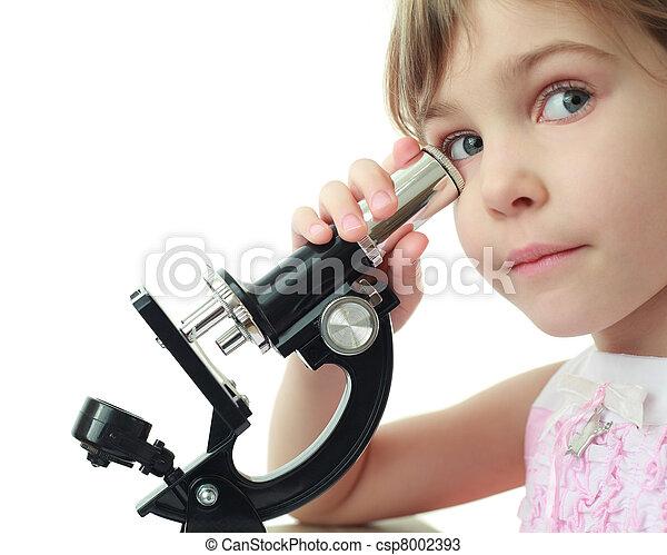 Portrait of cute little girl leaned against eye to microscope - csp8002393