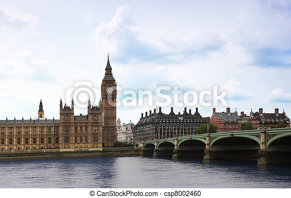 Westminster Bridge with Big Ben clock tower in London. Big Ben is one of London's best-known landmarks. - csp8002460