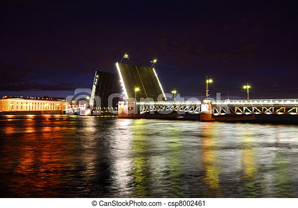 Palace Bridge drawbridge at night. Saint-Petersburg, Russia - csp8002461