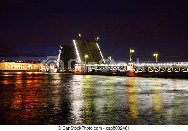 Palace Bridge drawbridge at night. Saint-Petersburg, Russia - csp8002461
