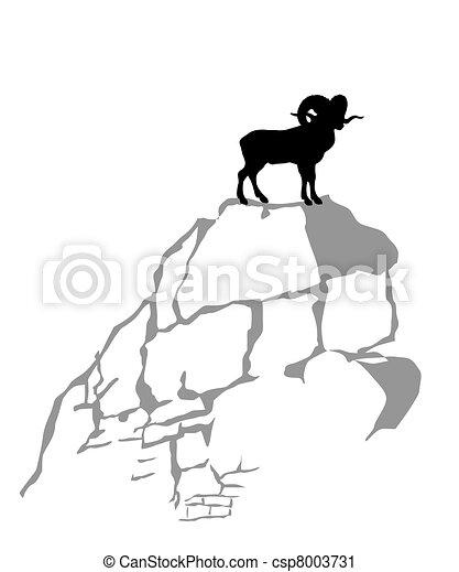 mountain ram silhouette on white background, vector illustration - csp8003731
