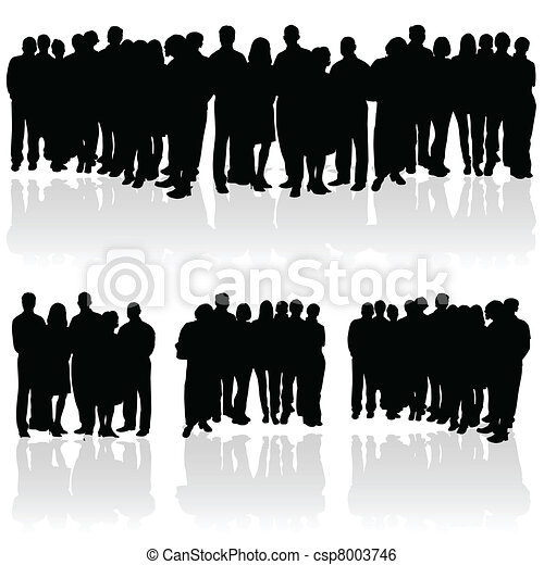 Clip Art Vector of people group silhouette of art vector ...