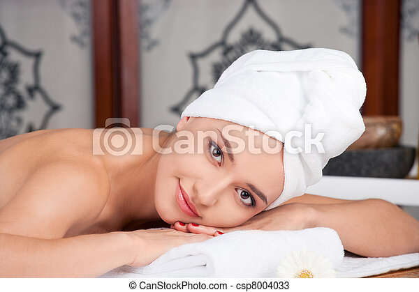 woman having relax in spa salon - csp8004033