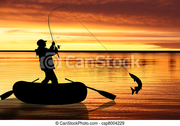 Illustration on fly fishing - csp8004229