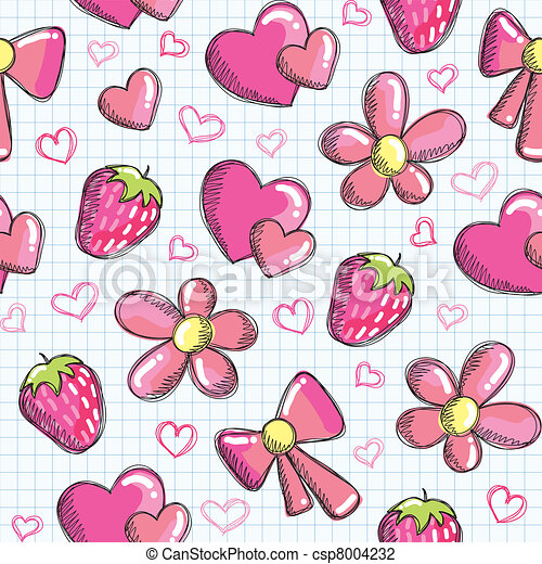 cute seamless pattern with romantic elements - csp8004232