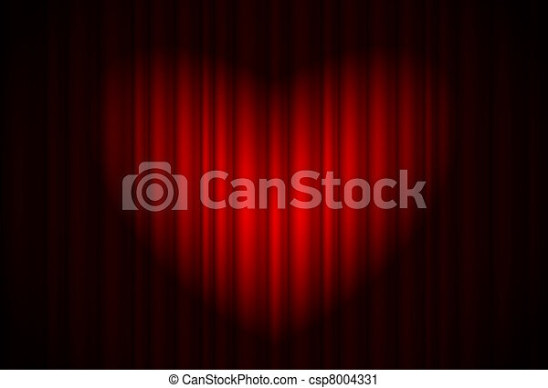 Stage with red curtain and spotlight great, heart-shaped - csp8004331