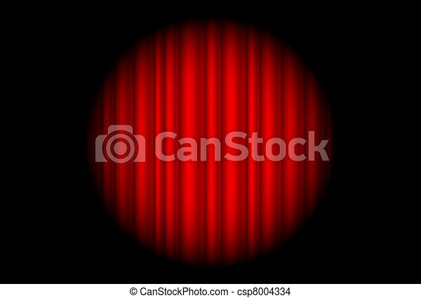 Stage with red curtain and big spot light - csp8004334