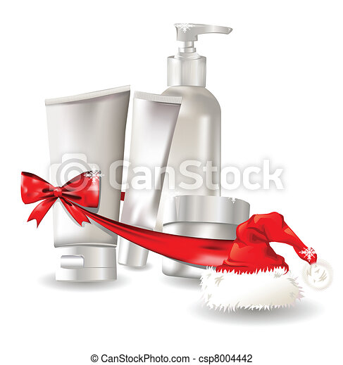 Cosmetic container gift set with santa hat - csp8004442