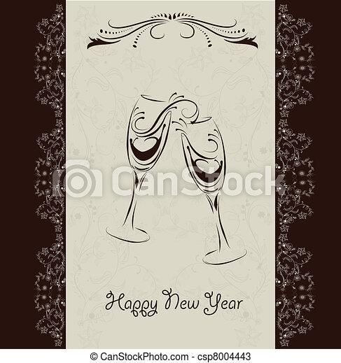 Happy New Year invitation card - csp8004443