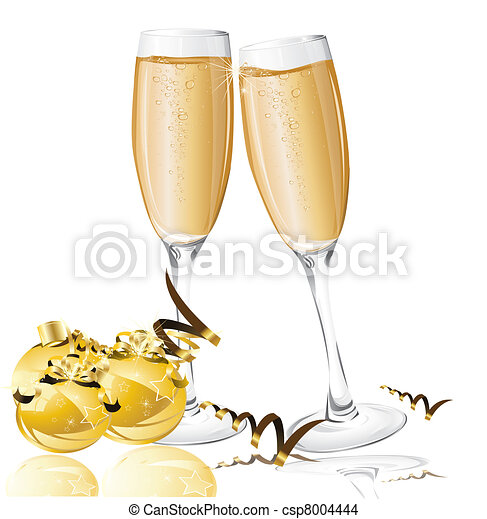 holiday background with New Year's balls and glasses of champagne - csp8004444