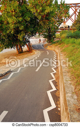 Belgrade, bicycle path along the river - csp8004733