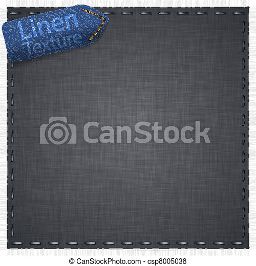Linen texture with jeans label. - csp8005038