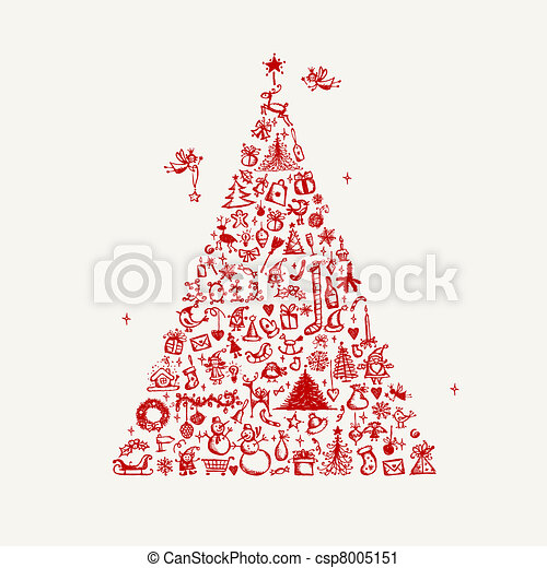 Christmas tree sketch for your design - csp8005151