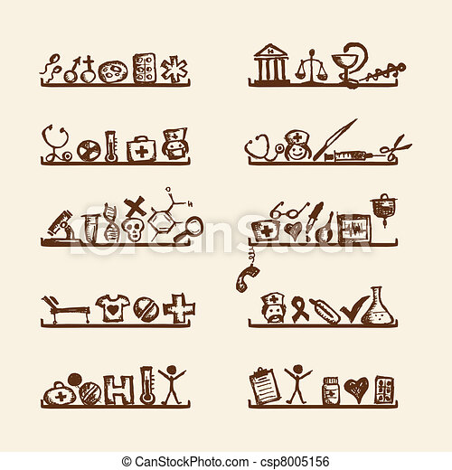 Shelves with medical icons for your design  - csp8005156