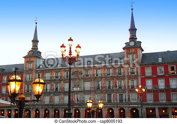 Madrid Plaza Mayor typical square in Spain - csp8005193
