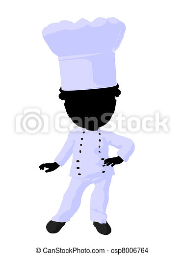 Little African American Chef Girl Illustration Silhouette - csp8006764