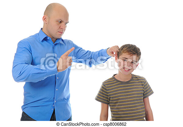 Strict father punishes his son - csp8006862