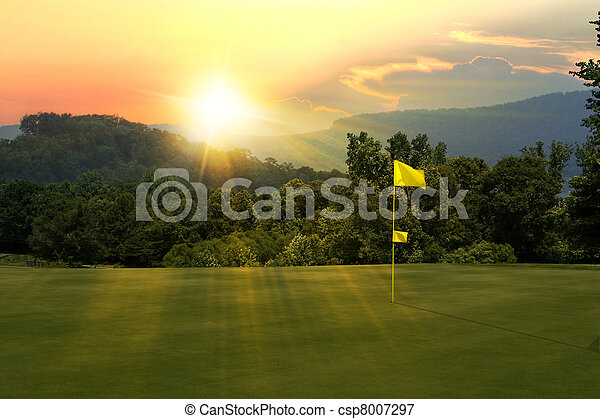 Golf Course sunset - csp8007297