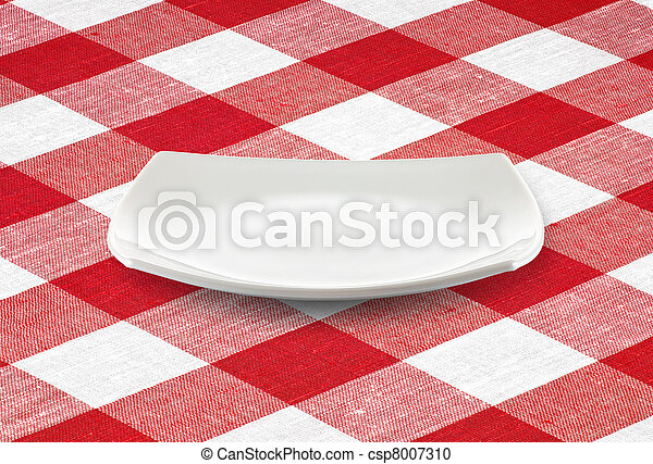 white square empty plate on red gingham tablecloth - csp8007310