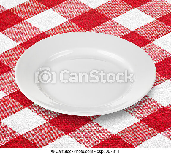 white empty plate on red gingham tablecloth - csp8007311