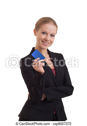 business woman with a banking card - csp8007372