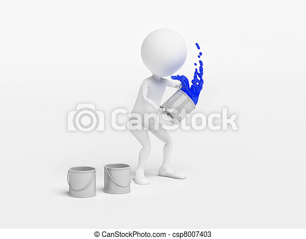Man throwing a bucket of paint - csp8007403
