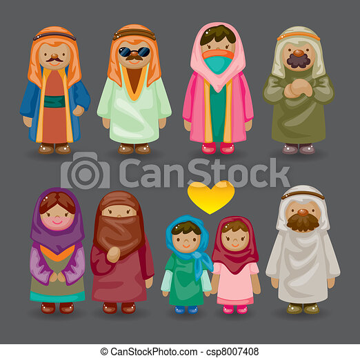 Vector of cartoon Arabian people icons csp8007408 - Search Clip ...