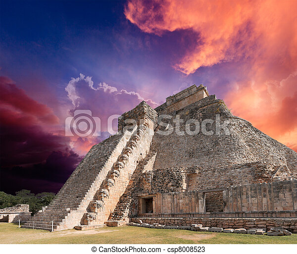 Mayan pyramid in Uxmal, Mexico - csp8008523