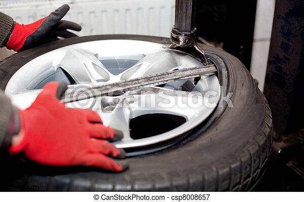 Tire rotation closeup - csp8008657