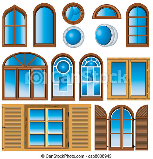 Vectors of collection of windows vector illustration of for Window design vector