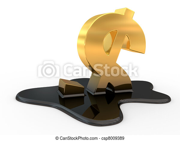 fused dollar sign and oil - csp8009389