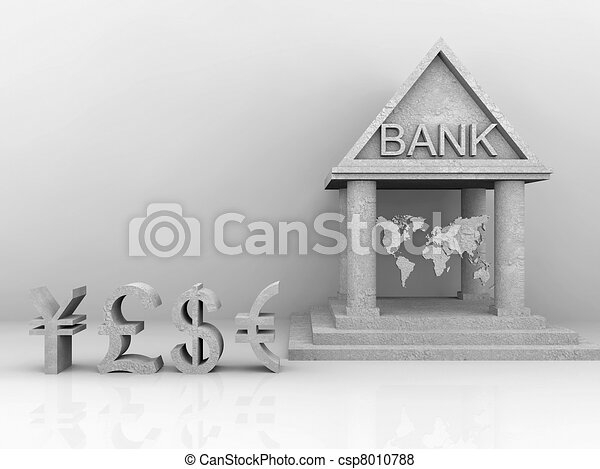 illustration of banking around the world with trade currency - csp8010788