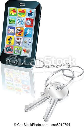 Phone access security keys concept illustration - csp8010794