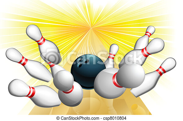 Vettore eps di sciopero palla bowling un illustrazione di csp8010804 cerca clipart - Bowling dessin ...