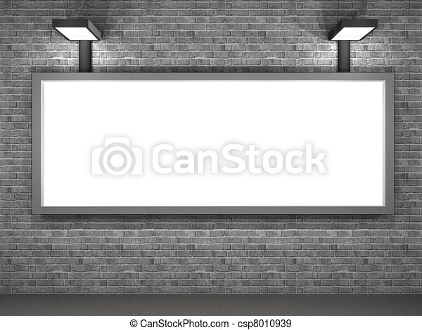 illustration of a street advertising panel at night - csp8010939