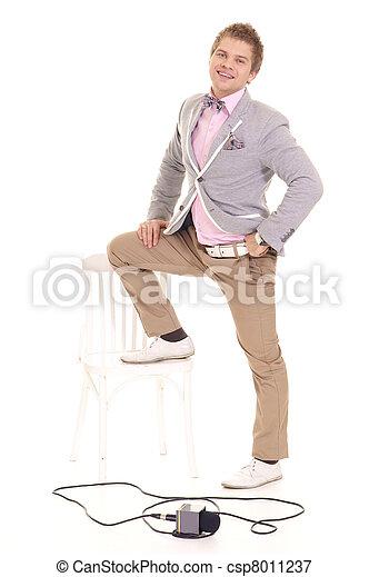 cute correspondent posing - csp8011237
