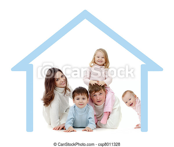 Happy family  in their own home concept - csp8011328